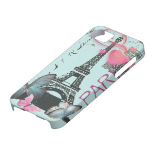 vintage blue Paris EffielTower Butterfly iphone5 iPhone SE/5/5s Case
