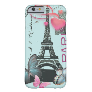 vintage blue Paris EffielTower Butterfly iPhone 6  Barely There iPhone 6 Case