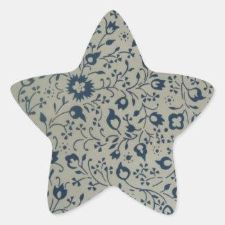 Vintage Blue Pattern Star Sticker