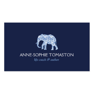 VINTAGE BLUE PATTERNED ELEPHANT LOGO II BUSINESS CARD TEMPLATE