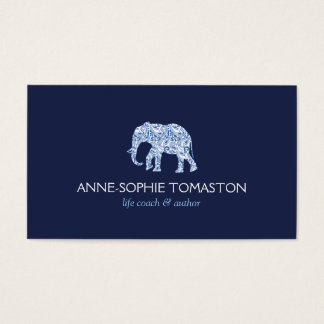 VINTAGE BLUE PATTERNED ELEPHANT LOGO II BUSINESS CARD