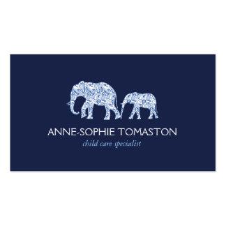 Vintage Blue Patterned Elephants Child Care Business Card