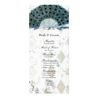 Vintage Blue Peacock Fan Wedding Program