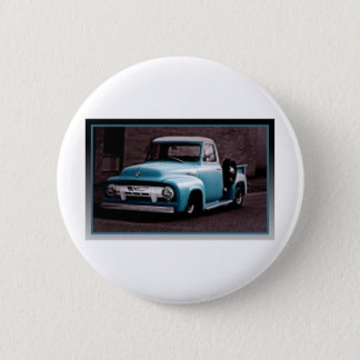 Vintage Blue Pickup Truck Button