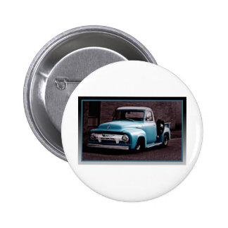 Vintage Blue Pickup Truck Button