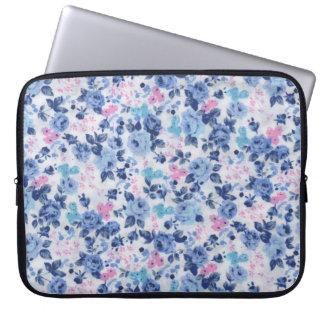 Vintage Blue Pink Cute Roses Floral Pattern Computer Sleeve