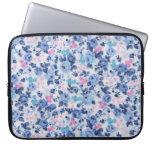 Vintage Blue Pink Cute Roses Floral Pattern Laptop Sleeve