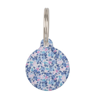 Vintage Blue Pink Cute Roses Floral Pattern Pet Name Tag