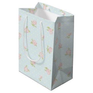 Vintage blue pink floral polka dot cream chic medium gift bag