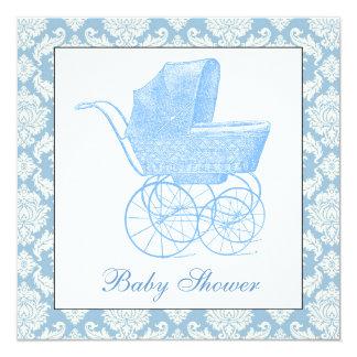 Vintage Blue Pram Baby Shower 5.25x5.25 Square Paper Invitation Card