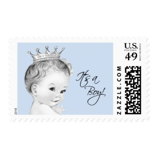 Vintage Blue Prince Baby Shower Postage Stamp