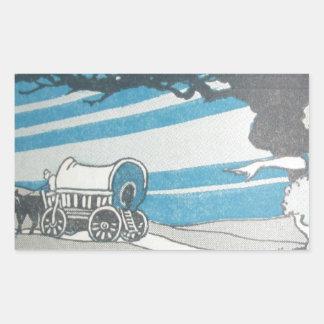 Vintage blue print western worse caravane moving rectangular sticker