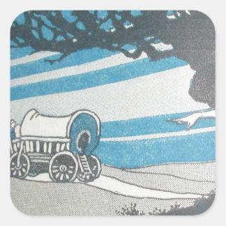 Vintage blue print western worse caravane moving square sticker