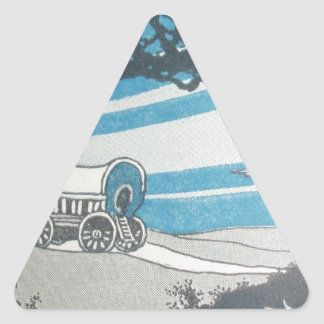 Vintage blue print western worse caravane moving triangle sticker