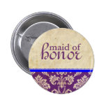 Vintage Blue Purple Damask Maid of Honor Button