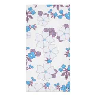 Vintage blue purple floral pattern. card
