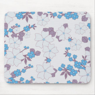 Vintage blue purple floral pattern. mouse pad