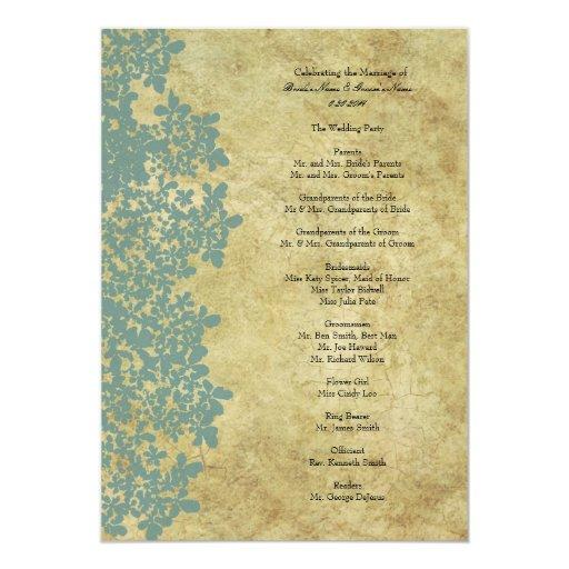 Vintage Blue Queen Ann's Lace Wedding Program 5x7 Paper Invitation Card