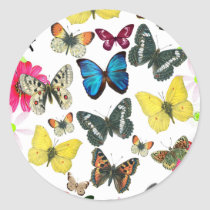 Vintage Blue Red Yellow Colorful Butterflies Classic Round Sticker