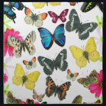 "Vintage Blue Red Yellow Colorful Butterflies Cloth Napkin<br><div class=""desc"">A vintage style design of cute blue yellow red butterflies and pink and green flowers  on white background.The perfect gift idea for the animal lover or anyone on any occasion.</div>"