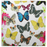 Vintage Blue Red Yellow Colorful Butterflies Cloth Napkin<br><div class='desc'>A vintage style design of cute blue yellow red butterflies and pink and green flowers  on white background.The perfect gift idea for the animal lover or anyone on any occasion.</div>