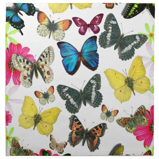 Vintage Blue Red Yellow Colorful Butterflies Cloth Napkin