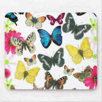 Vintage Blue Red Yellow Colorful Butterflies Mouse Pad