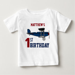 64a434ef Vintage Blue Retro Airplane 1st Birthday Party Baby T-Shirt