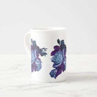 Vintage blue rose bouquet tea cup