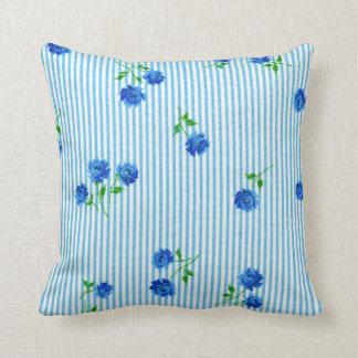 Vintage Blue Rose Cottage Chic Seersucker Striped Pillow