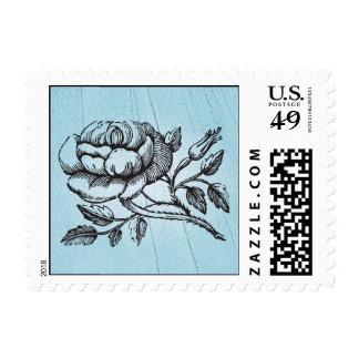 Vintage Blue Rose Stamp