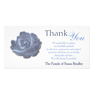 Vintage Blue Rose - Sympathy Thank You Photo Card