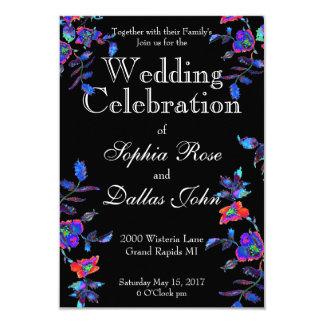 Vintage blue Rose Wedding Card