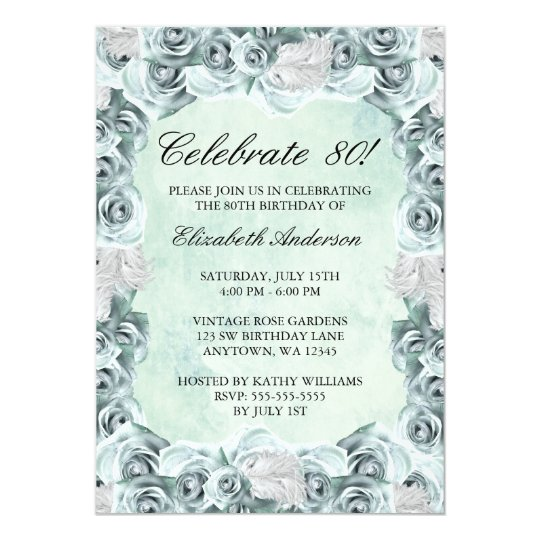 Vintage Blue Roses and Feather 80th Birthday Party Card