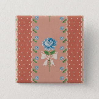 Vintage Blue Roses Coral Dots Wallpaper Pattern Button