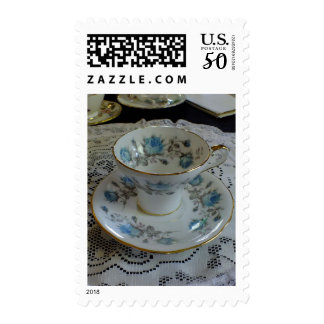 Vintage Blue Roses Tea Cup And Saucer Postage