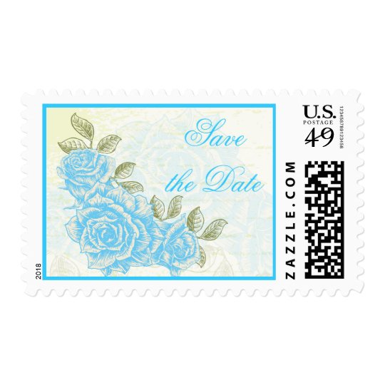 Vintage blue roses wedding Save the Date stamp