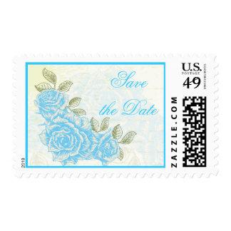 Vintage blue roses wedding Save the Date stamp