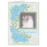 Vintage blue roses wedding Thank You note card