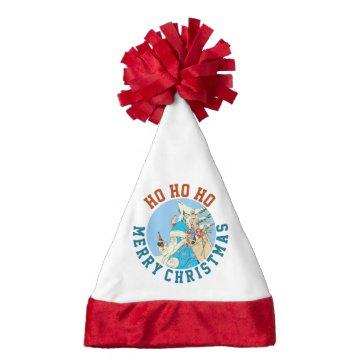 Vintage Blue Santa on Santa Hat w/ Red Tassle at Zazzle
