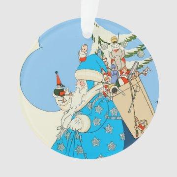Vintage Blue Santa with Christmas Toys at Zazzle