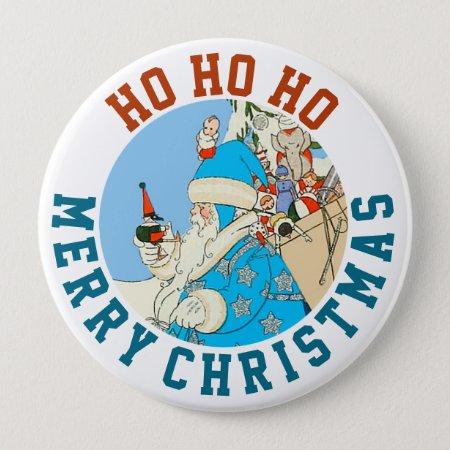 Vintage Blue Santa With Christmas Toys Button