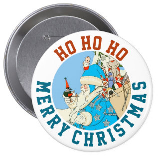 Vintage Blue Santa With Christmas Toys Button at Zazzle