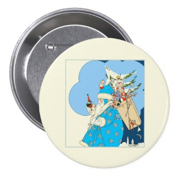 Vintage Blue Santa with Christmas Toys Buttons at Zazzle