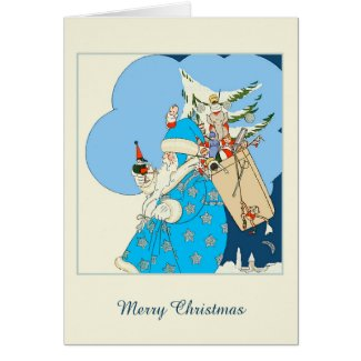 This Christmas card features an elderly vintage Santa Claus with long flowing white beard. He wears a blue cloak with silver stars, blue hat and white gloves. He carries a sack of toys on his back and holds a small toy figure in his hand.