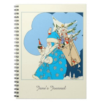 Vintage Blue Santa with Christmas Toys Notebooks at Zazzle