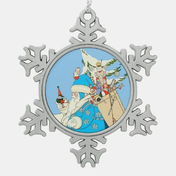 Vintage Blue Santa with Christmas Toys Ornament at Zazzle