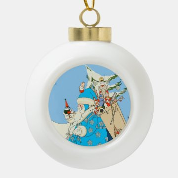Vintage Blue Santa with Christmas Toys Ornaments at Zazzle