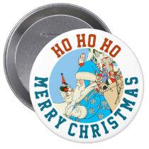 Vintage Blue Santa with Christmas Toys Pins at Zazzle