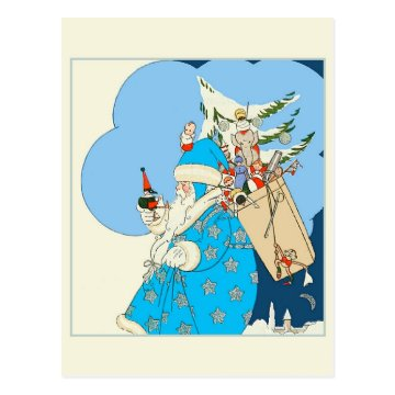 Vintage Blue Santa with Christmas Toys Post Card at Zazzle